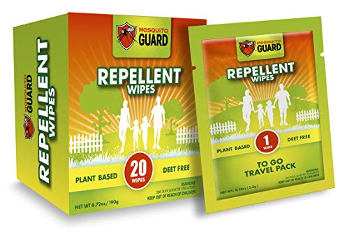 Mosquito Guard Mosquito Repellent Wipes (20 Pack) All Wipes Individually Wrapped, Made with Plant Based Ingredients - DEET Free