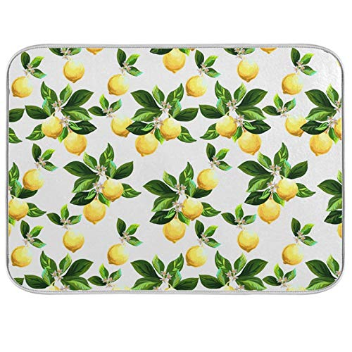 Oarenol Summer Lemons Dish Drying Mat Flower Leaves Tropical Fruit Large 18 x 24 Inch Reversible Drying Mat for Kitchen Counter