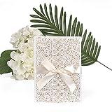 ewtshop®, set di biglietti di invito per matrimonio, biglietti di auguri, buste e nastri, 20 pezzi