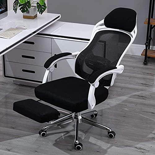 WSDSX Muebles Silla reclinable para Deportes electrónicos, Escritorio de Malla para el hogar Silla de Oficina Pies de Acero Elevador Giratorio ergonómico Tipo Y Soporte Lumbar Cómodo sillón reclin