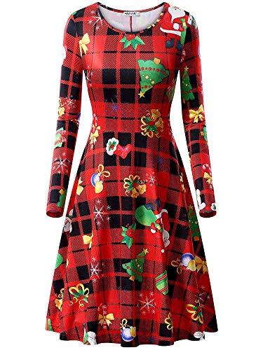 MSBASIC dames kerstjurk lange mouwen ronde hals jurk voor kerstfeest