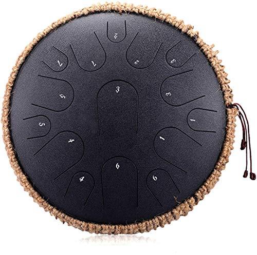 15 Hinweise Stahlzunge Trommel 13 Zoll HandPan Drum Harmonic Tank-Drum Meditation Yoga Zen mit Schlägel Reisetasche for Anfänger Musik-Liebhaber-Geschenk (Color : Black)