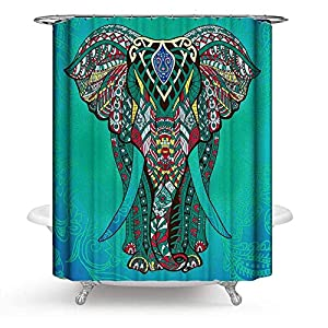 PHNAM Elephant Shower Curtain with Hooks Green Premiun Printed 72x72 Inches Extra Long Waterproof Decoration Polyester Cloth Bath Curtains Sets for Bathroom, Bathtub