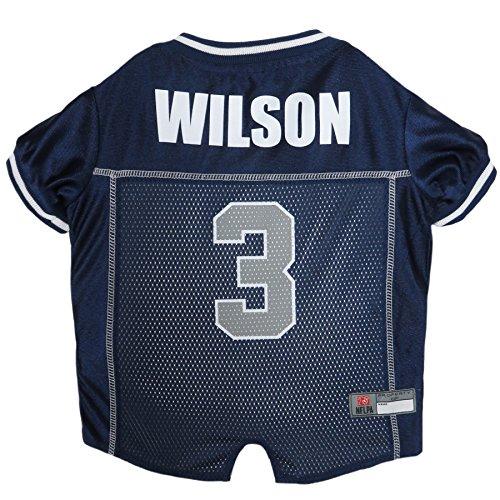 NFLPA Dog Jersey - Russell Wilson #3 Pet Jersey - NFL Seattle Seahawks Mesh Jersey, Small