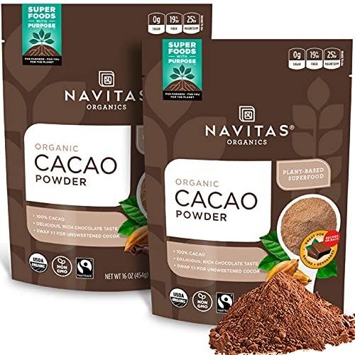 organics Navitas Organics Cacao Powder, 16 oz. Bags (Pack of 2) — Organic, Non-GMO, Fair Trade, Gluten-Free (19-002)