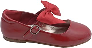 L'Amour Little Girls Red Grosgrain Bow Flats Dress Shoes 5-10 Toddler