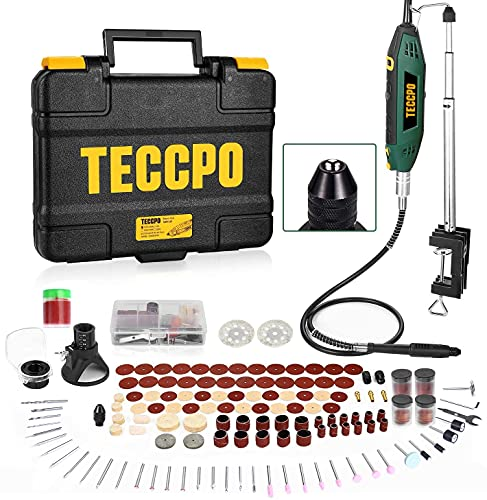 TECCPO Rotary Tool Kit 1.8 amp, 10000-40000RPM, 6 Variable Speed, Universal Keyless Chuck and Flex Shaft, 6 Attachments & 196 Accessories Ideal for Crafting and DIY