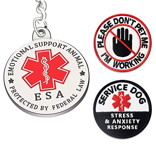 Dogs ESA Tag Sevice Dog Patches 3 PCS Please DO NOT PET Working Patches for Dog Vest Hook Loop Patches