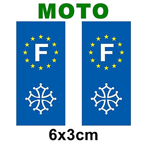 Lot de 2 sticker plaque immatriculation moto logo régionaux Croix occitane