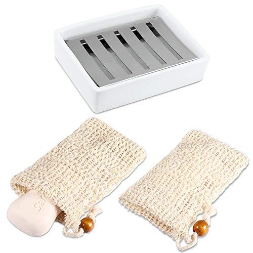 PAMIYO 1 Stück Keramik Seifenschale + 2 Stück Seifensäckchen,Double Layer Draining Soap Box,Bio Seifensack mit Kordel, Verhindert Seifenreste auf Ihrer Waschbeckenablage Für Bad Waschbecken