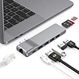 Hub USB C 8 in 2, Adattatore USB C USB a 4K HDMI with 1Gbps RJ45 Gigabit Ethernet Thunderbolt 3, 3 Porte USB 3.0 Hub SD/TF Card Reader Hub USB Type C per MacBook Air 2019 2018 MacBook Pro 2019 2018
