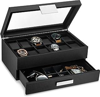 Caja de relojes con cajón para hombre, organizador de relojes de exhibición de lujo con 12 ranuras, diseño de fibra de carbono para relojes de joyería de hombre, las cajas de almacenamiento para hombres cuenta con una gran tapa de cristal y hebilla de metal