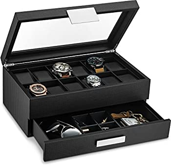 Glenor Co Watch Box with Valet Drawer for Men - 12 Slot Luxury Watch Case Display Organizer Carbon Fiber Design - Metal Buckle for Mens Jewelry Watches Men s Storage Boxes Holder has Large Glass Top