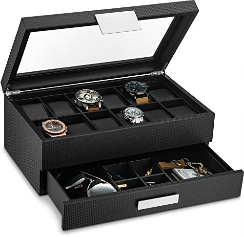 Glenor Co Watch Box with Valet Drawer for Men - 12 Slot Luxury Watch Case Display Organizer, Carbon...