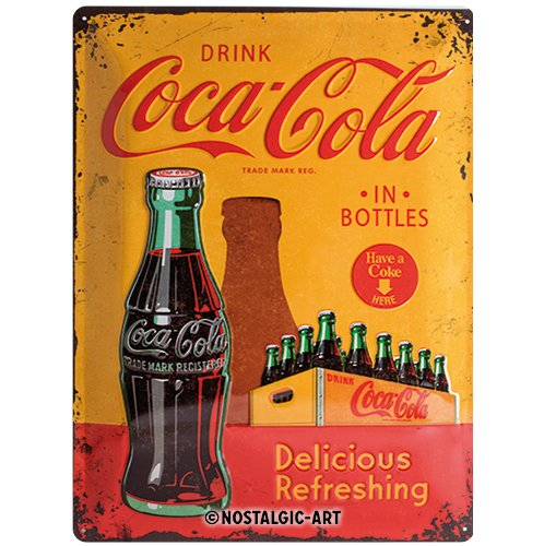 Nostalgic-Art Coca Cola In Bottles Yellow Placa Decorativa, Metal, Ama