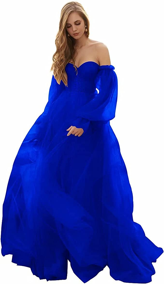 Women's Puffy Sleeve Tulle Prom Dresses Long Ball Gowns Formal Off The Shoulder Princess Party Dress