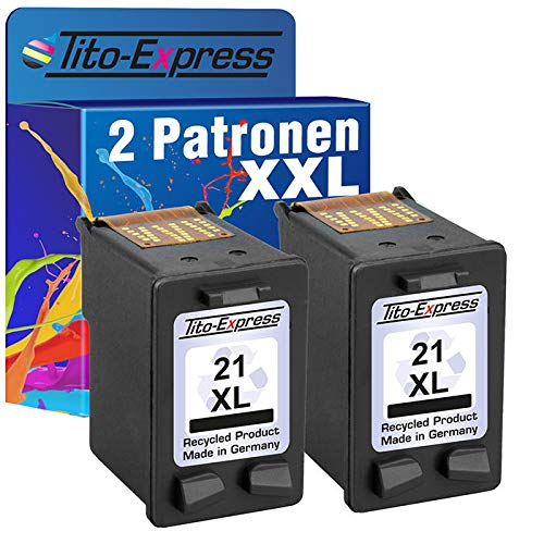 Tito-Express PlatinumSerie 2X Tinten-Patrone für HP-21 XL Black PSC 1410 D1455 D1460 D1520 D1530 D2320 D2330 D2340 D2345