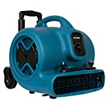 XPOWER P-630HC Air Mover, Dryer, Fan, Blower with Telescopic Handle, Wheels, Carpet Clamp for Water Damage Restoration, Commercial Cleaning & Plumbing Use-1/2 HP, 2800 CFM, 3 Speeds, Blue