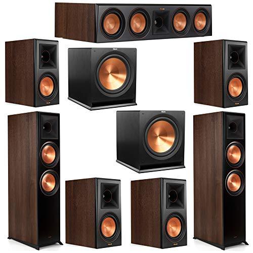 Best Price Klipsch 7.2 Walnut System 2 RP-8000F Floorstanding Speakers, 1 Klipsch RP-504C Center Spe...