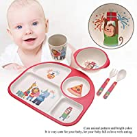 5個/セット竹繊維子供用食器、無毒の子供用食器、赤ちゃんに安全(Monkey party)