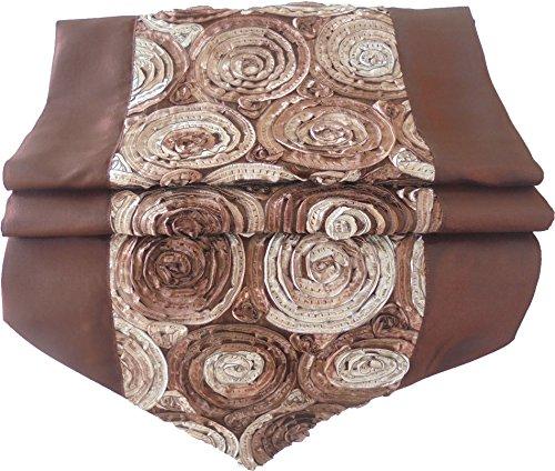 nappe tablerunner chemin de table lin soie thaïlandaise élégante précieux Roses fleurs brun foncé 200 cm x 30 cm