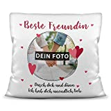 Print Royal Kissen mit eigenem Bild, Name und Datum die Freundin/Foto-Collage als...
