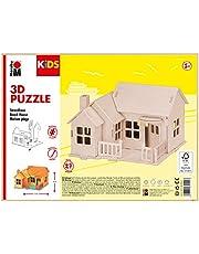 Marabu 317000000013 - KiDS 3D houten puzzel strandhuis, met 27 puzzelstukjes van FSC-gecertificeerd hout, ca. 19 x 14 cm groot, eenvoudige steektechniek, voor individueel beschilderen en vormgeven