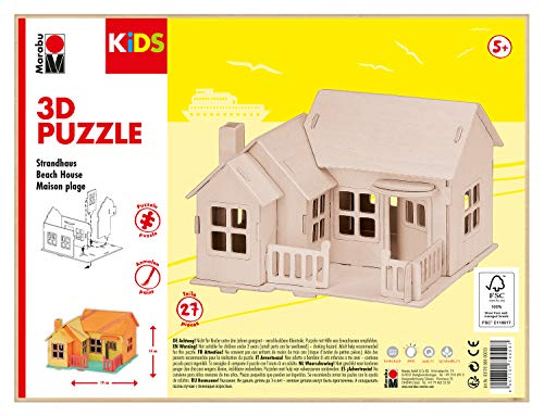 Marabu 317000000013 - KiDS 3D Holzpuzzle Strandhaus, mit 27 Puzzleteilen aus FSC-zertifiziertem Holz, ca. 19 x 14 cm groß, einfache Stecktechnik, zum individuellen Bemalen und Gestalten