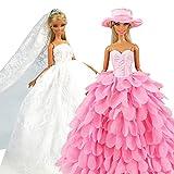 Miunana 2 Vestiti per 30 CM / 11.5 Pollici Principessa Bambola = Sera Party Principessa Abbigliamento Abito da Sposa Lungo Senza Spallini con Corona E Velo + Abito A Scale Colore di Rosa con Cappello