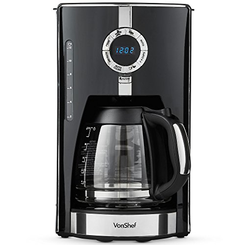 VonShef 12-Cup Programmable Coffee Maker With Glass Carafe
