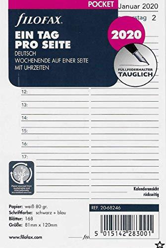 Filofax Kalendereinlage Pocket 1 Tag auf 1 Seite. (deutsch)2020