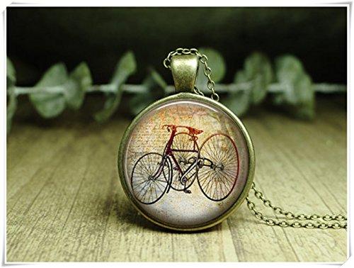 Bike Jewelry, colgante de estilo antiguo para bicicleta, joyería para bicicleta, joyería de cristal, hecho a mano