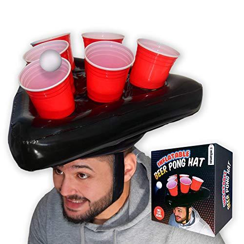 mikamax - Aufblasbarer Bier Pong Hut - Schwarz - Trinkspiele - Mit Cups und Balls