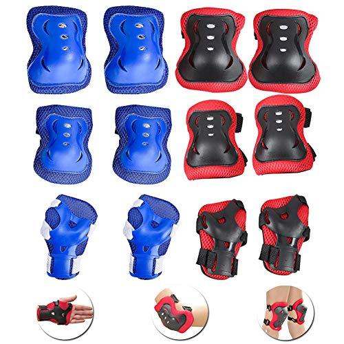 INTVN Kinder Knieschoner Set 2X 6 in 1 Schutzausrüstung Kinder Knieschützer Ellbogenschützer Set Schutzausrüstung Set für Skateboard Radfahren Roller Skating Radfahren(Blau und rot)