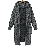 AOMEI Oversized Long Cardigans Sweater for Women with Pockets and Hood Gray