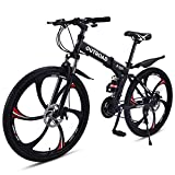 Outroad Folding Mountain Bike 6 Spoke 21 Speed Double Disc Brake Full Suspension Anti-Slip MTB (Black,26 in)