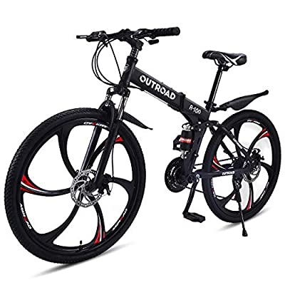 Outroad Folding Mountain Bike 6 Spoke 21 Speed Double Disc Brake Full Suspension Anti-Slip MTB (Black,26 in)