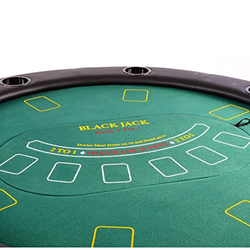 Nexos Profi Casino Pokertisch klappbar Rund Ø 120 cm; 4 in 1 Spiele: Poker, Roulette, Black Jack, Craps inkl. Karten, 100 Chips und Zubehör - 2