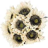 Hawesome 7 girasoles artificiales de un solo tallo de flores falsas, arreglos florales para decoración del hogar, fiestas, color crema y blanco
