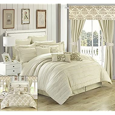 Chic Home Hailee 24 Piece Comforter Set Complete Bed in a Bag Pleated Ruffles and Reversible Print with Sheet Set and Window Treatment, Queen Beige