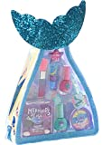 Townley Girl Mermaid Vibes Makeup Set with 8 Pieces, Including Lip Gloss, Nail Polish, Body Shimmer and More in Mermaid Bag, Ages 3+ for Parties, Sleepovers and Makeovers