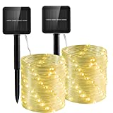 Outdoor Rope Lights, 2 Packs 120 Led Upgrade Durable Solar Rope Lights Outdoor Waterproof Led Fairy String Rope Lights with 8 Mode for Garden, Outdoor, Patio, Yard, Tree, Wedding(39Ft.Warm White)