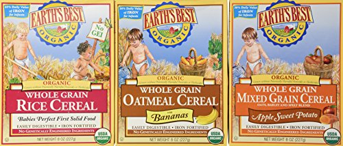 Earths Best Organic Whole Grain Cereal 3 Flavor Variety Bundle: (1) Earths Best Organic Whole Grain Oatmeal Cereal With Bananas, (1) Earths Best Organic Whole Grain Mixed Grain Apple Sweet Potato Cereal, and (1) Earths Best Organic Whole Grain Rice Cereal, 8 Oz. Ea. (3 Boxes Total)