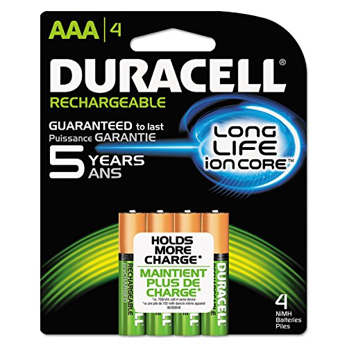 Duracell NLAAA4BCD Rechargeable StayCharged NiMH Batteries, AAA, 4/PK