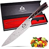 MRKPRESTIGE Chef Knife 8 inch Chefs Knife High Carbon Stainless Steel Kitchen knife  Suitable for Chopping, Slicing, Dicing, Cutting Meat, Bread, and Veggies