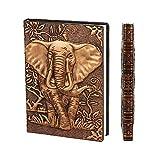 YHH Hardcover Notizbuch A6, Faux Leder Reise Tagebuch Liniert, Vintage Travel Journal zum selberschreiben Notizheft Buch Weihnachtsgeschenke für Mädchen Männer Kinder Jungen Klein 3D Elefant Kupfer