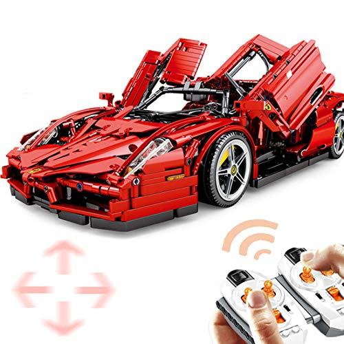 Macium Technik Bausteine Racing Auto für Ferrari Enzo, 2615Teile 1:10 2.4GH Ferngesteuerter Sportwagen mit 5 Motoren Bausteine Konstruktionsspielzeug Kompatibel mit Lego Technic