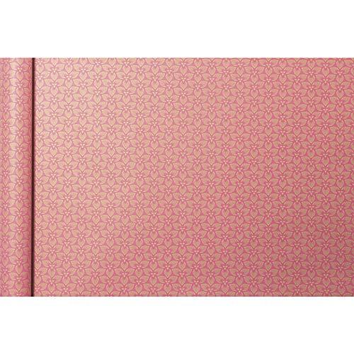 Clairefontaine 223828C Rolle Geschenkpapier Tiny rolls Kraft mit Blumenmotiven (5 m x 0,35m, innovative Breite, einfach zum Transportieren, 70g, Blauer Engel) 1 Rolle, rosa