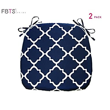 FBTS Prime Outdoor Chair Cushions (Set of 2) 16x17 Inches Patio Seat Cushions Navy Square Chair Pads for Outdoor Patio Furniture Garden Home Office