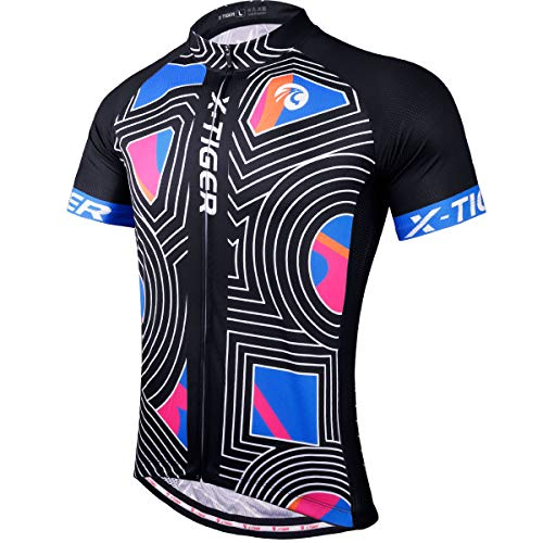 X-TIGER Cycling Bike Jersey Short Sleeve for Men,Bicycle MTB Tops Shirts with 4 Rear Pockets,Breathable and Lightweight